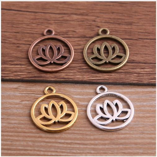 Medalha Flor de Lótus Vazada para Pulseira e Japamala - 10 peças - AM002  - ArtStones