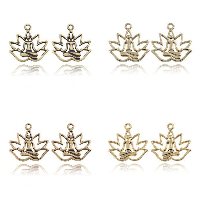 Medalha Meditação Flor de Lótus Cores Variadas - 10 peças - AM003  - ArtStones