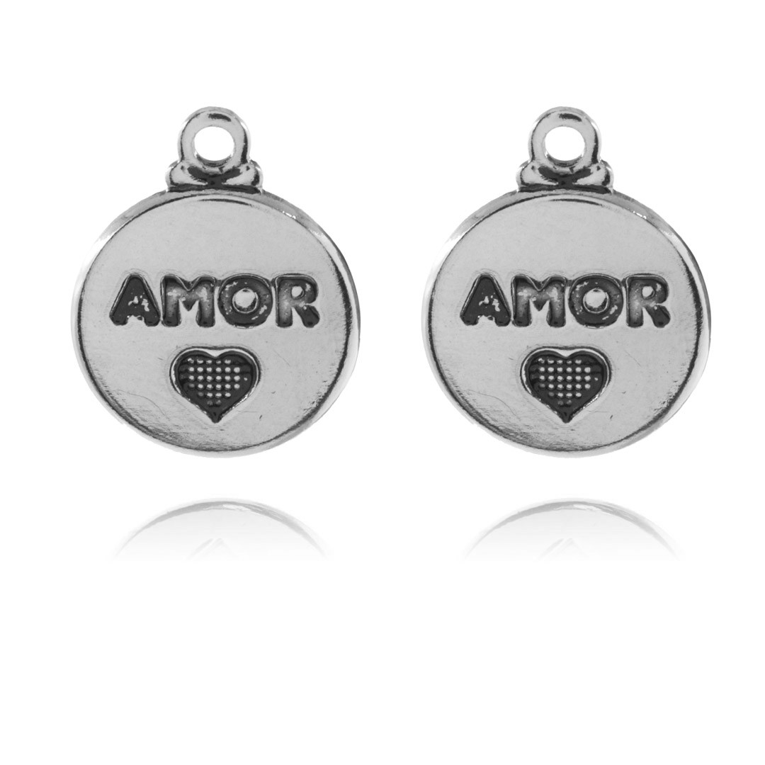 Medalha Mini Amor 11mm Metal - 5 Peças - AM204  - ArtStones