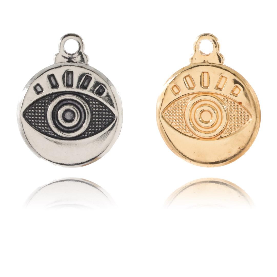 Medalha Mini Olho Grego 11mm Metal - 5 Peças - AM226  - ArtStones