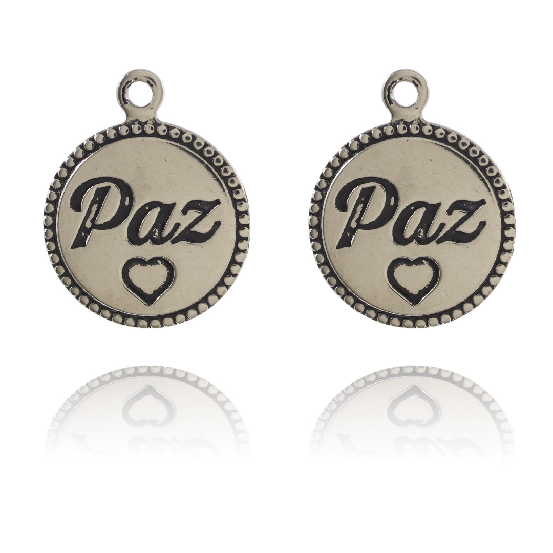 Medalha Mini Paz 12mm Metal - 5 Peças - AM219  - ArtStones