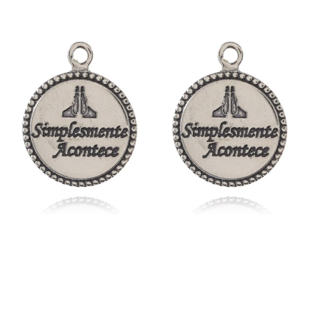 Medalha Mini Simplesmente Acontece 12mm Metal - 5 Peças - AM218  - ArtStones