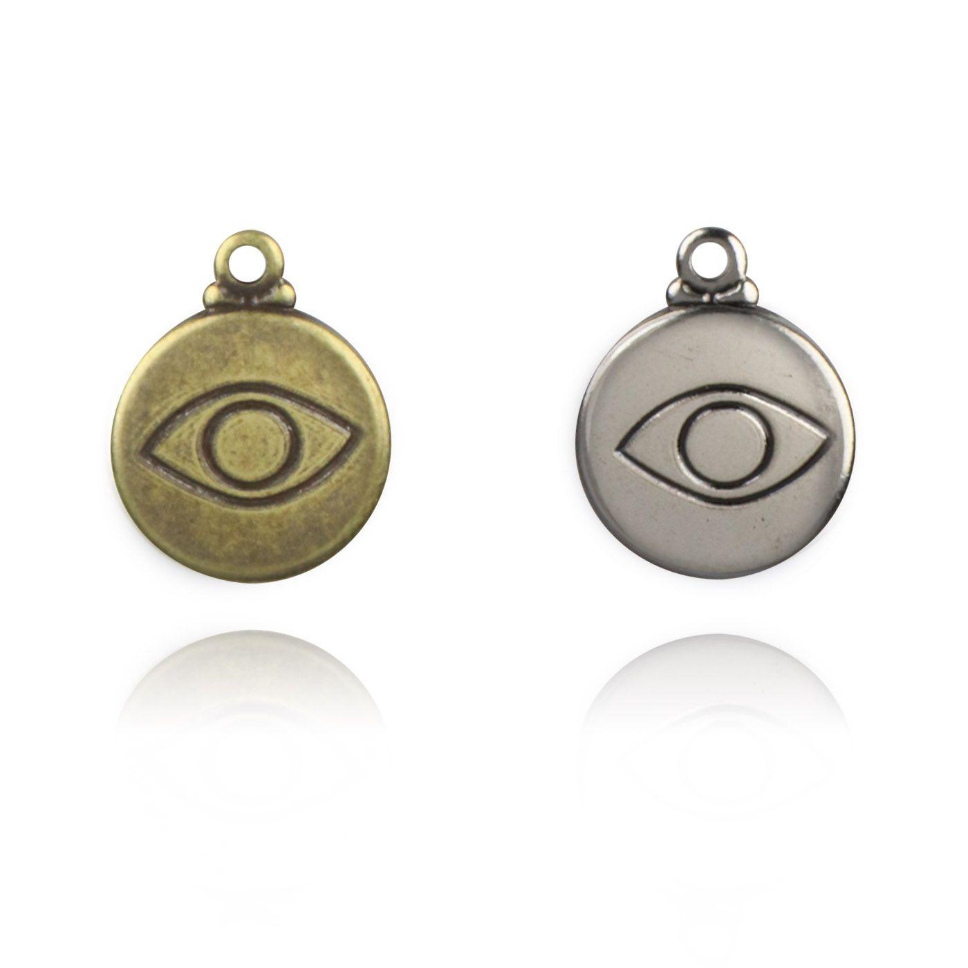 Medalha Mini Olho Grego 11mm Metal - 5 Peças - AM200  - ArtStones