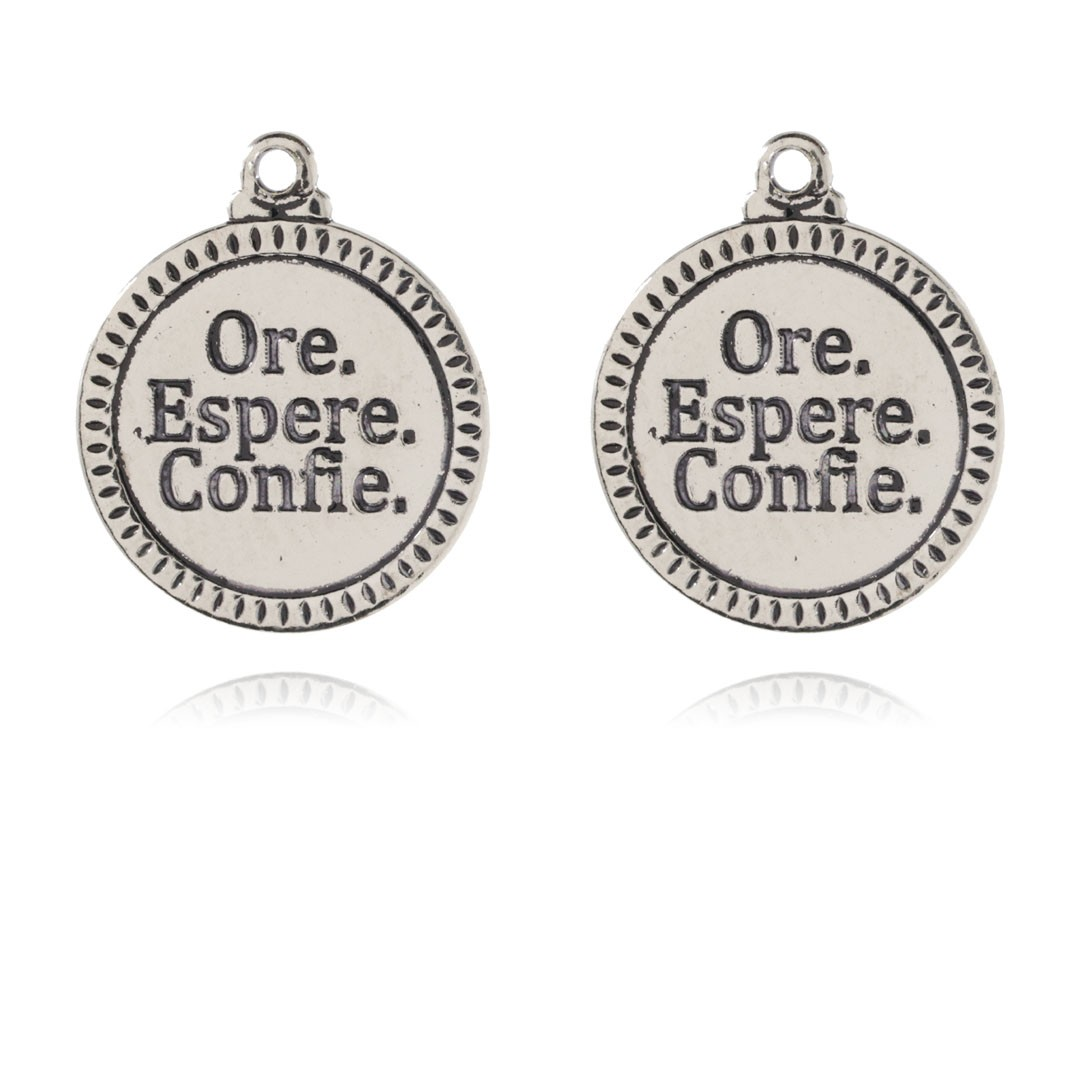 Medalha Ore Espere Confie 15mm Metal - 3 Peças - AM224  - ArtStones
