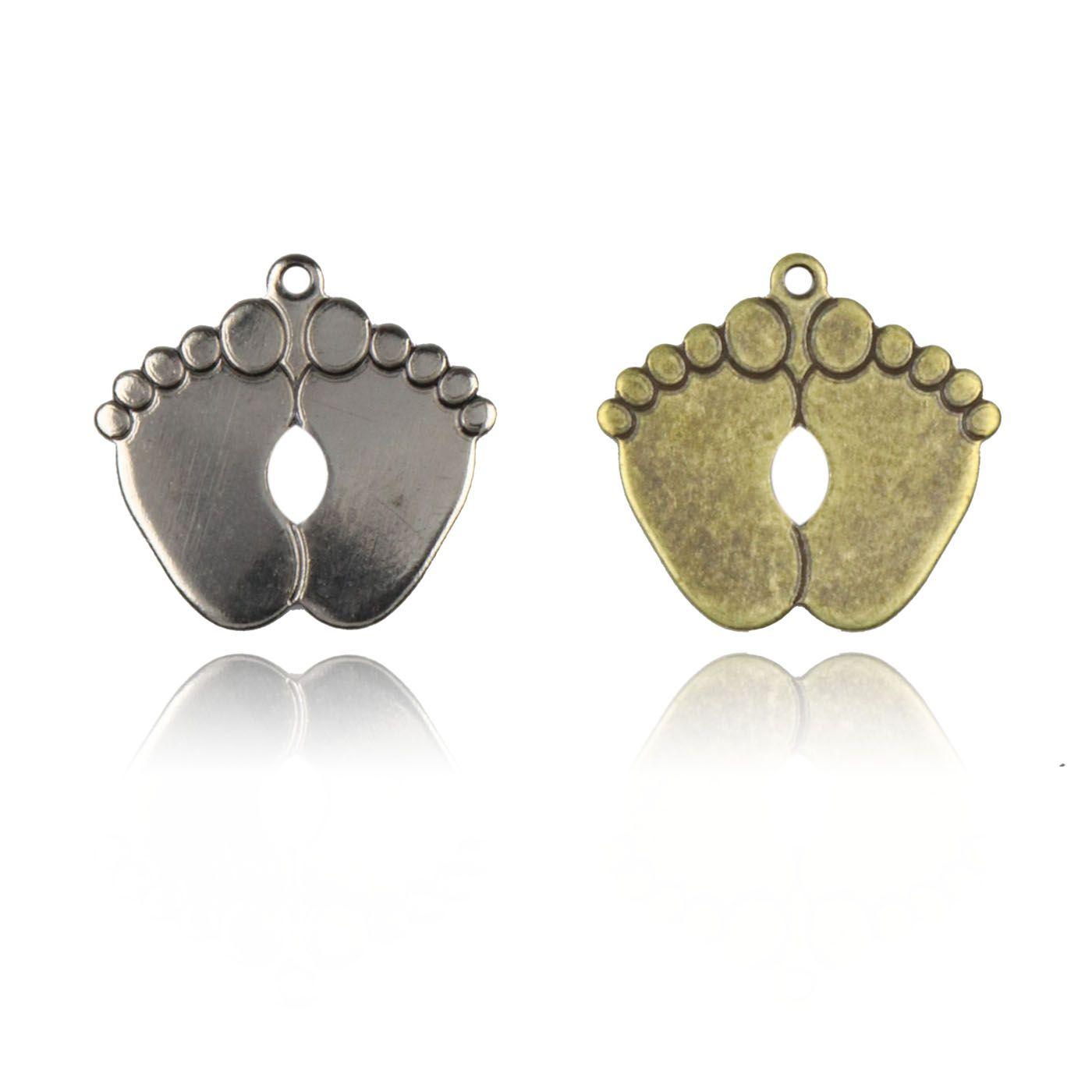 Medalha Pézinho 13mm Metal - 5 Peças - AM077  - ArtStones