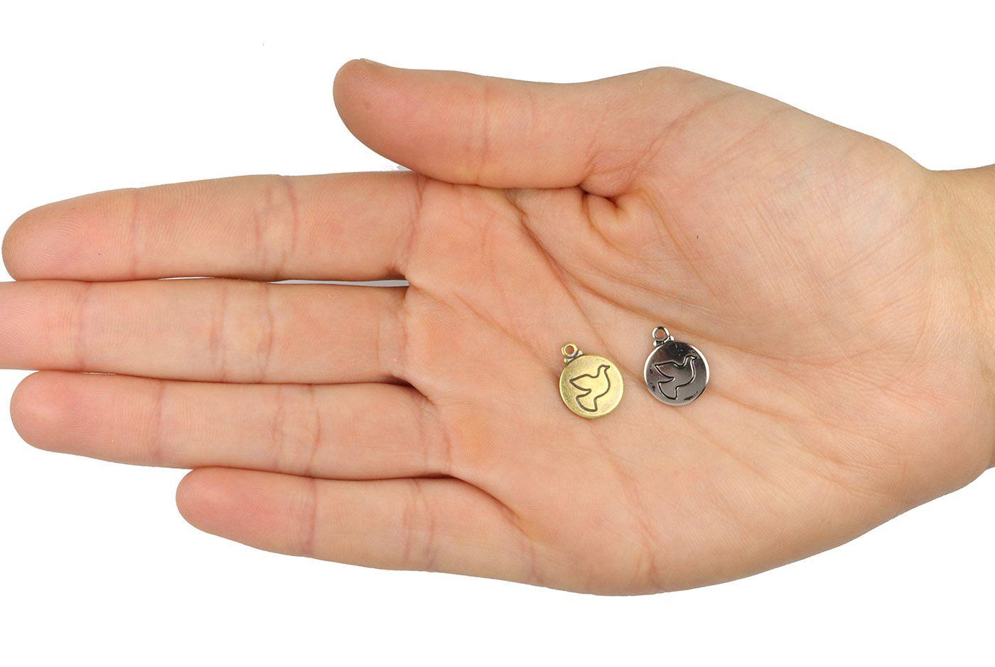 Medalha Mini Símbolo da Paz 11mm Metal - 5 Peças - AM073  - ArtStones