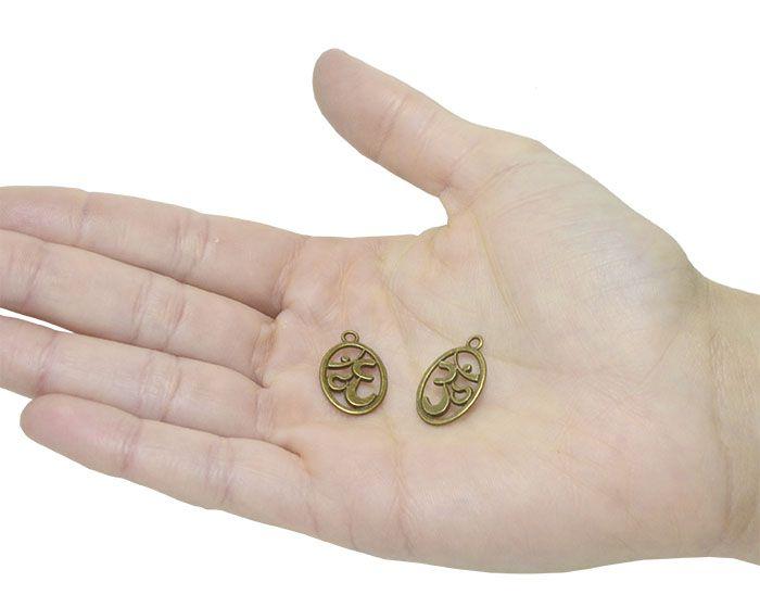 Medalha Símbolo OM Oval Cores Variadas - 10 Peças - AM191  - ArtStones