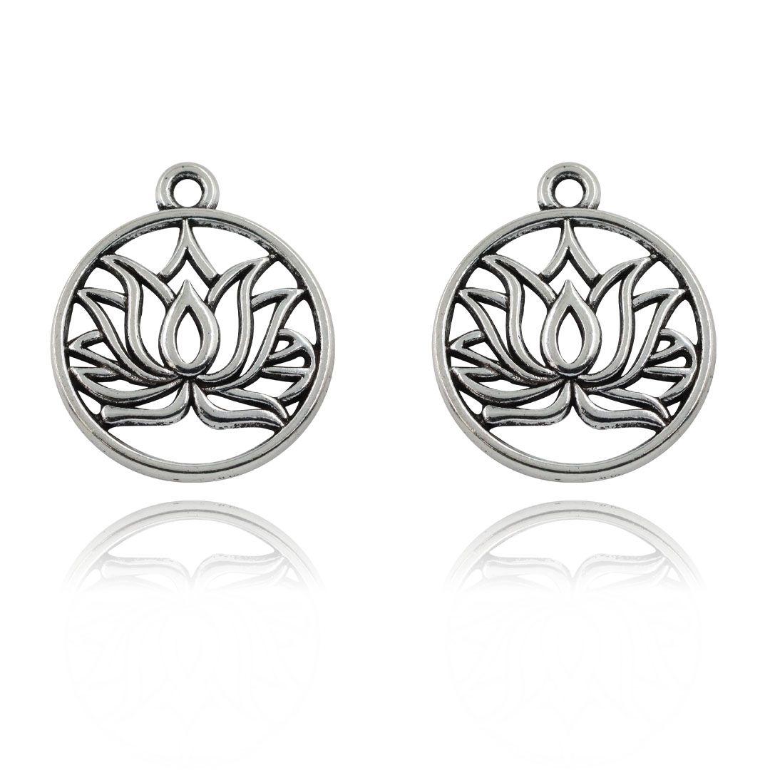Medalhas para Japamala Niquelada - 50 Peças - AM087  - ArtStones