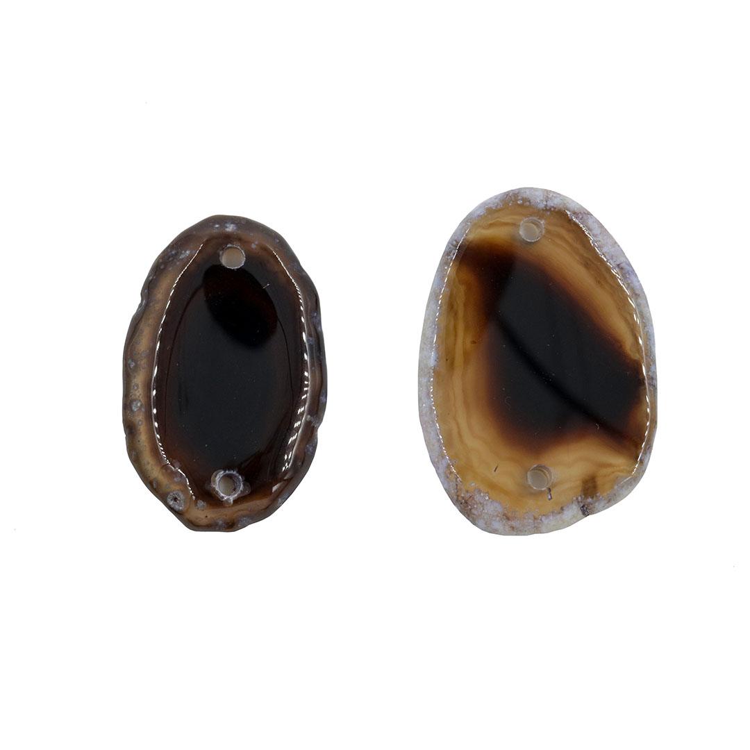 Mini Chapa de Ágata Cores Variadas 02 Furos 3 a 4.5cm Bordas Polidas - 1 Peça - AGT001  - ArtStones