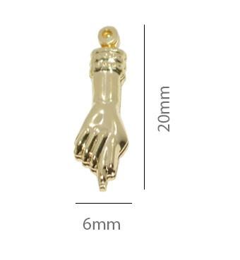 Pingente Figa Pequeno 15x5mm  Folheado  - Pacote - FO184  - ArtStones
