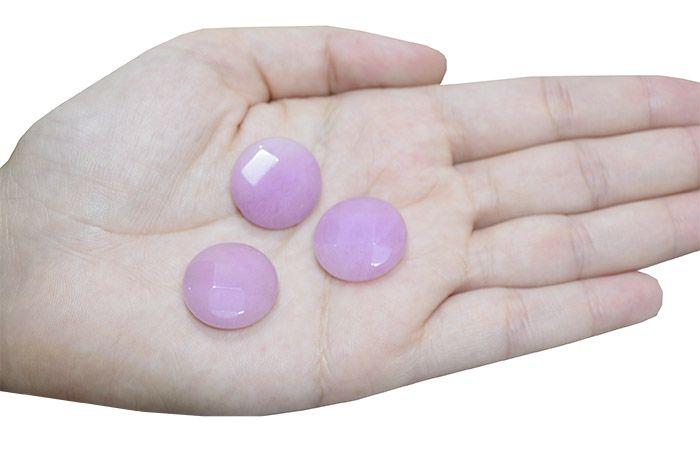 Moeda Facetada de Jade Lilás 20mm - 4 Peças - PA057  - ArtStones