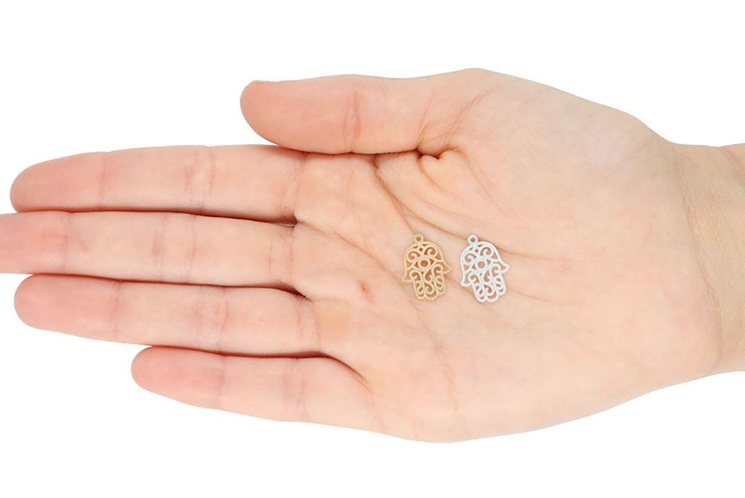 Mão de Deus Fotocorrosão 17x13mm Folheado a Prata - 3 Peças - PEFO_58  - ArtStones
