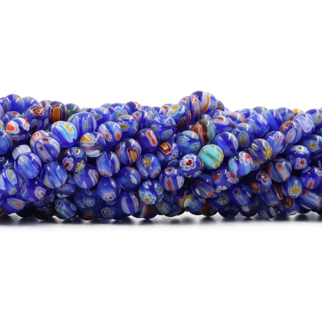 Murano Mil Flores 6mm Azul Bic - CV433  - ArtStones