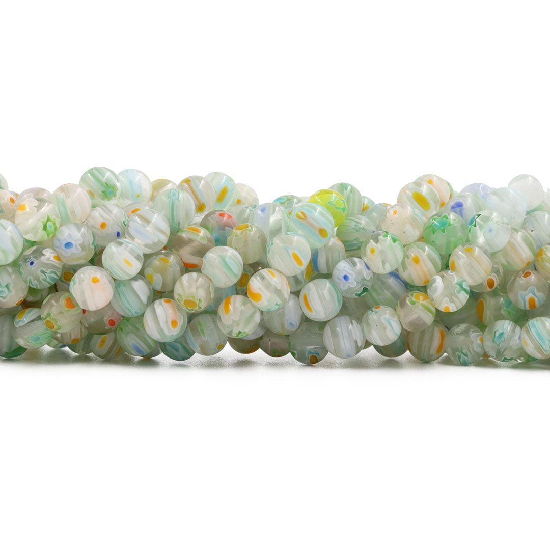 Murano Mil Flores 6mm Cristal com Verde - CV446  - ArtStones