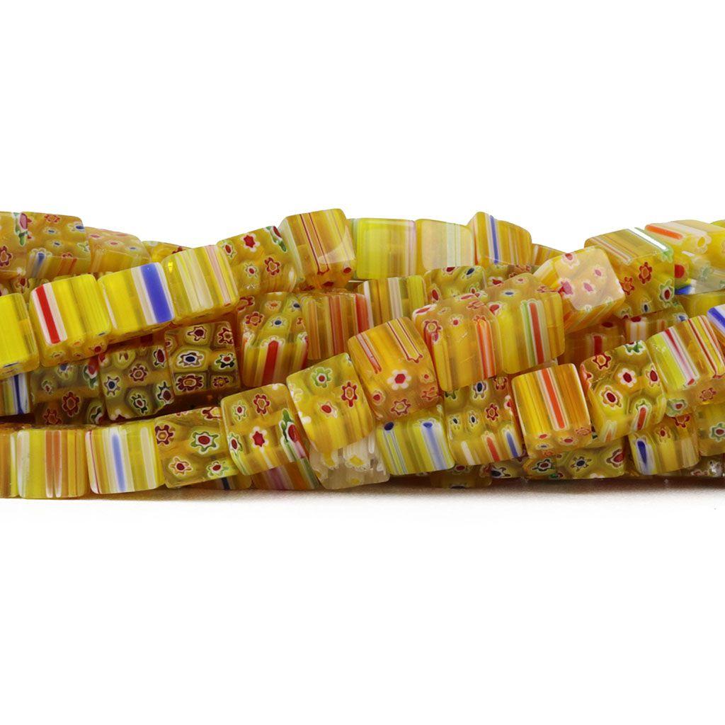 Murano Mil Flores Amarelo Cubo 8x8 - CV444  - ArtStones