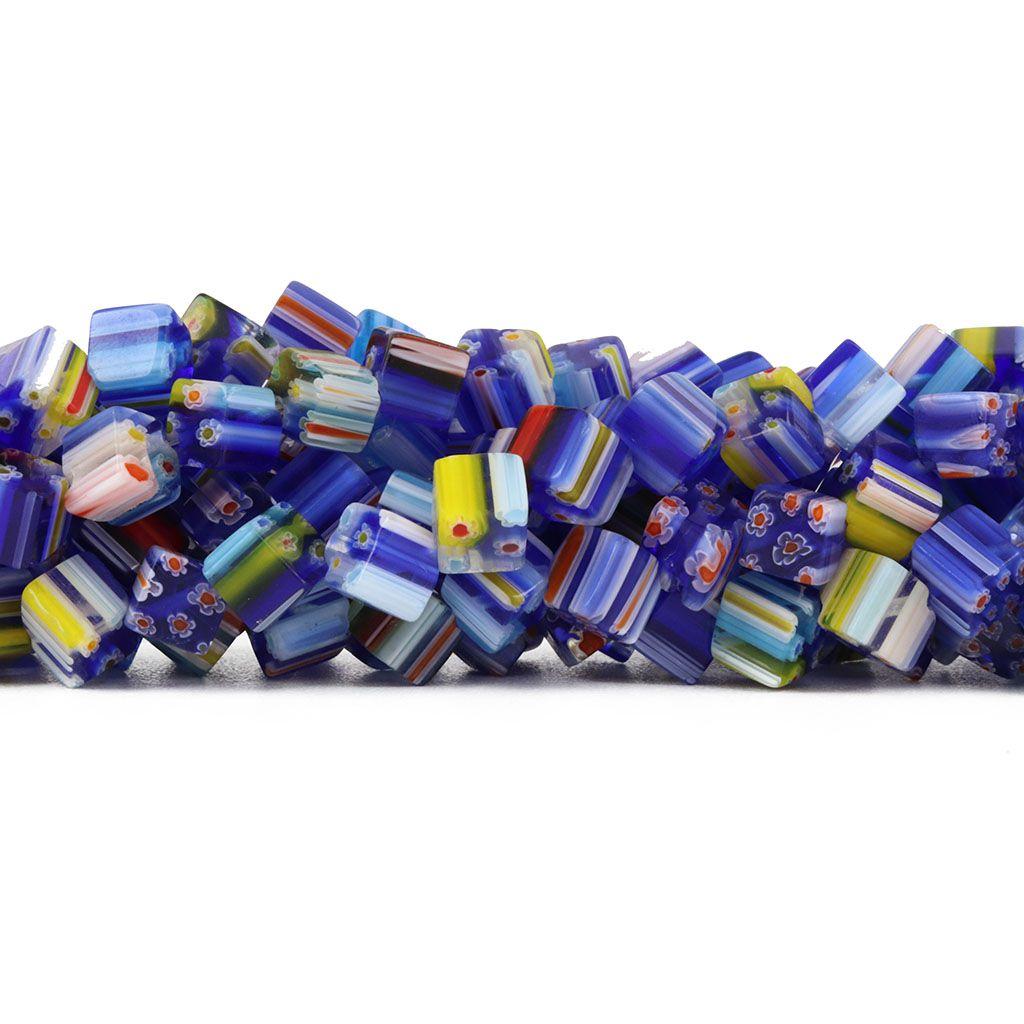 Murano Mil Flores Azul Anil Cubo 8mm - CV466  - ArtStones