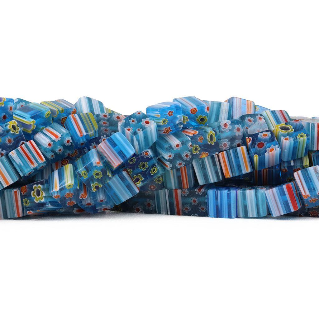 Murano Mil Flores Azul Mix Cubo 8x8mm - CV462  - ArtStones