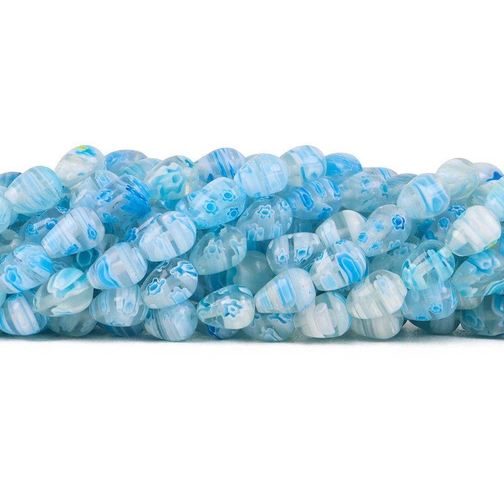 Murano Mil Flores Azul Claro 10x8mm Gota - CV432  - ArtStones