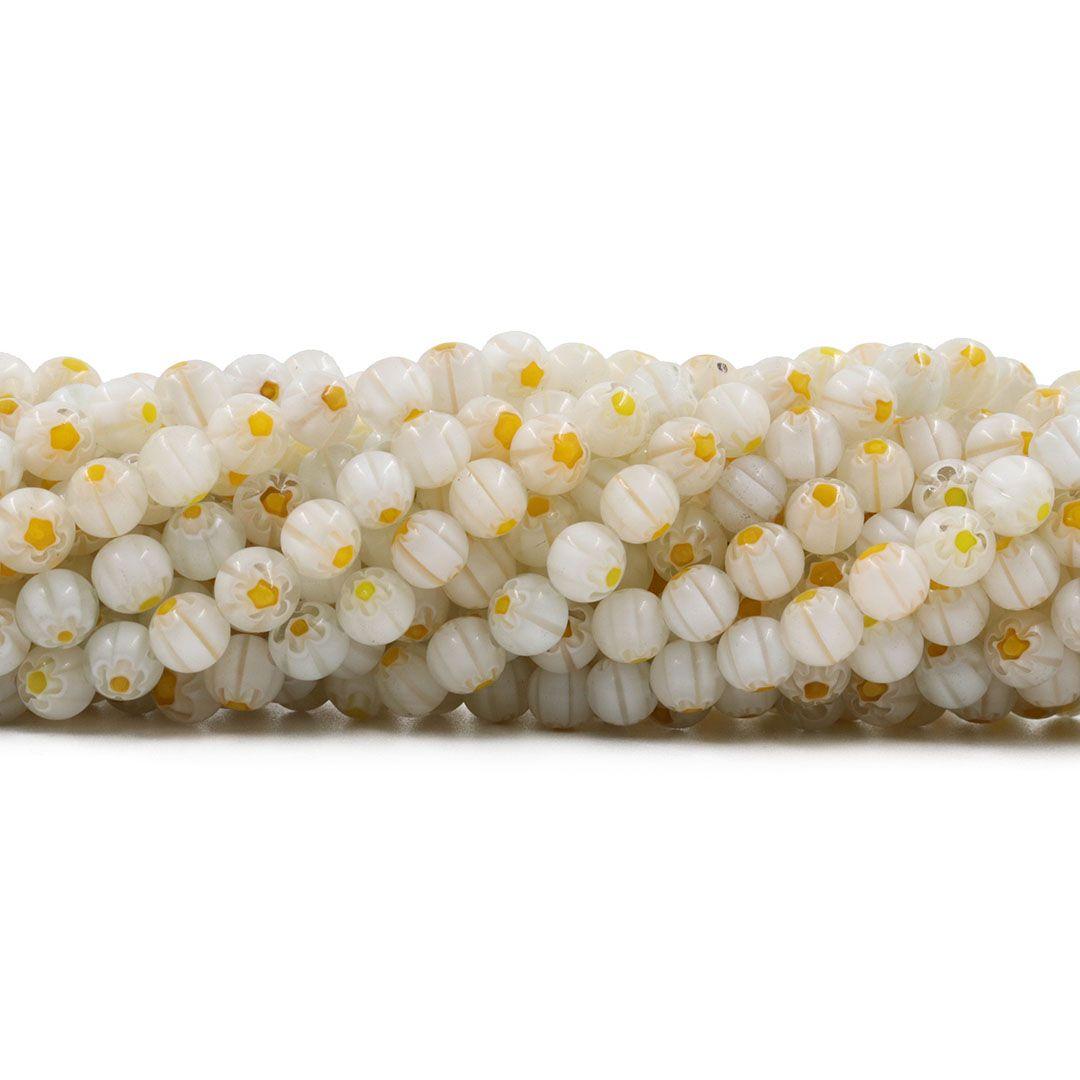 Murano Mil Flores Branco e Amarelo 6mm Esfera - CV452  - ArtStones