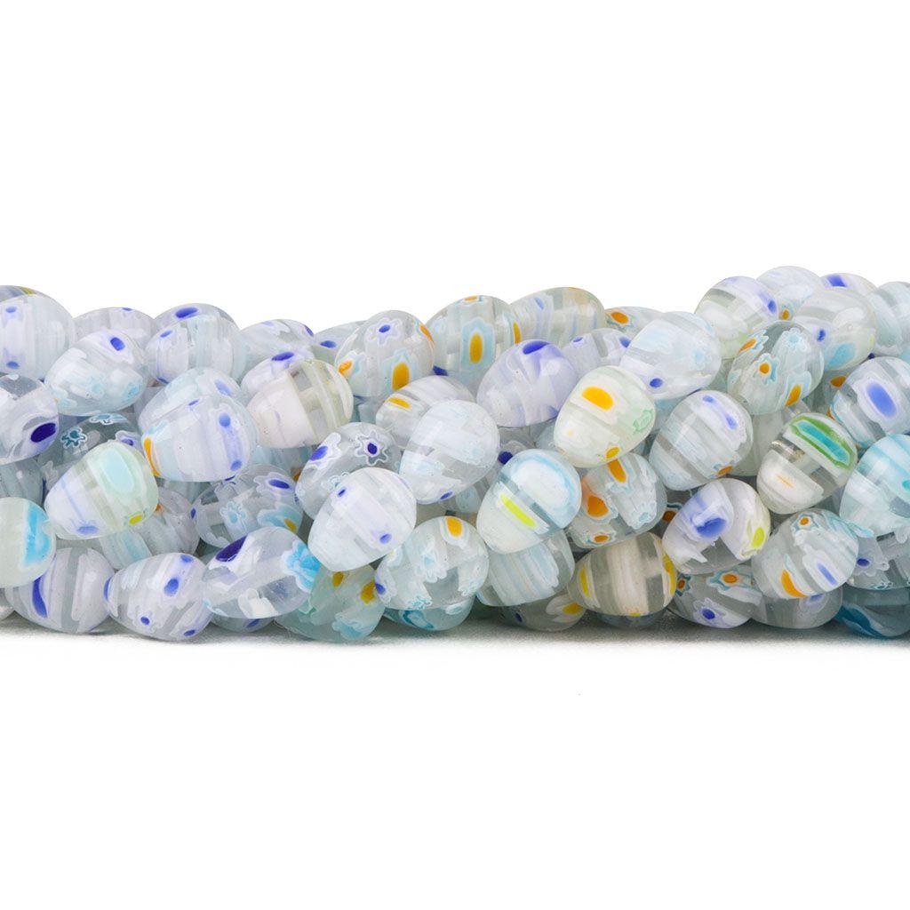 Murano Mil Flores Cristal com Azul 10x8mm Gota - CV438  - ArtStones