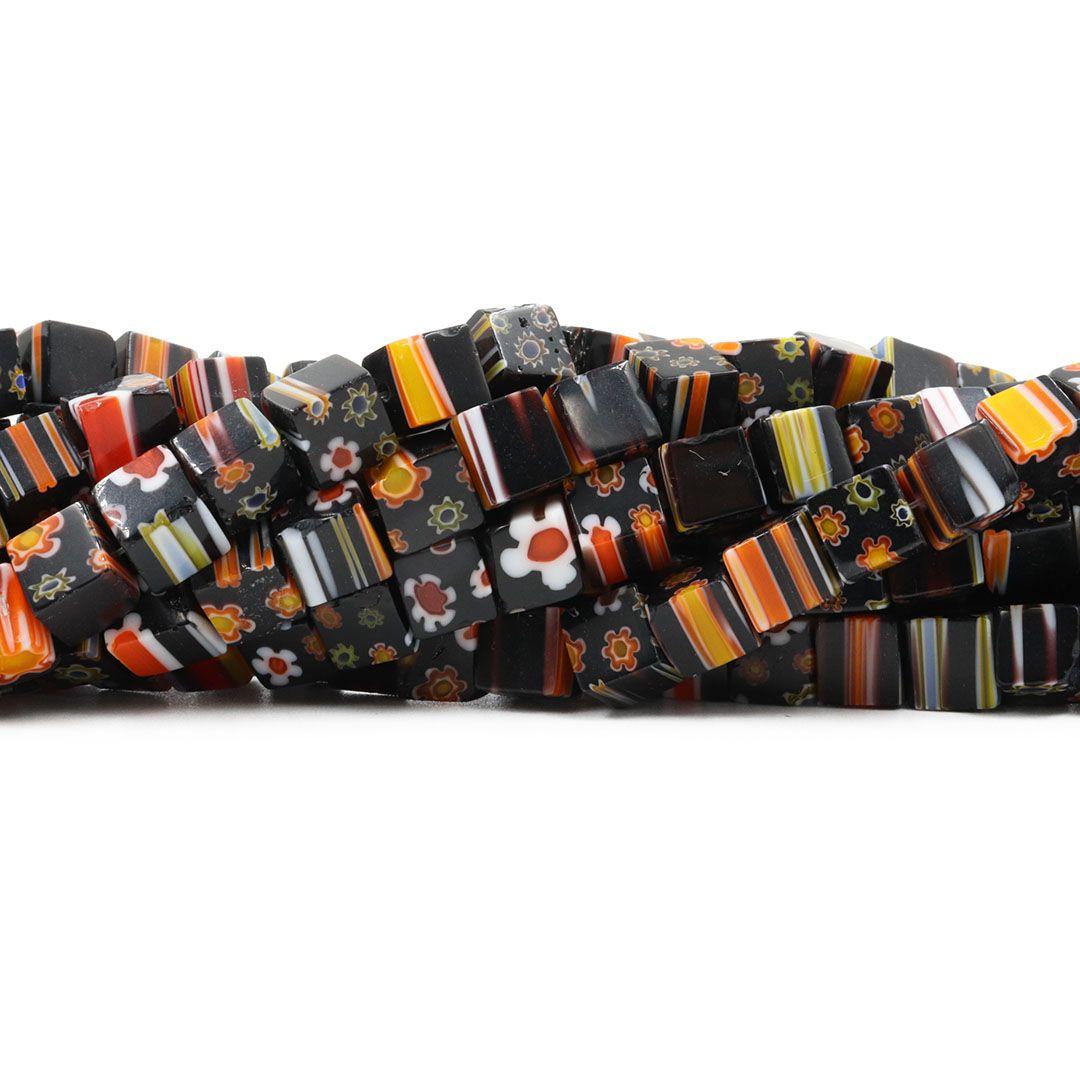 Murano Mil Flores Preto Florido Cubo 6mm - CV460  - ArtStones