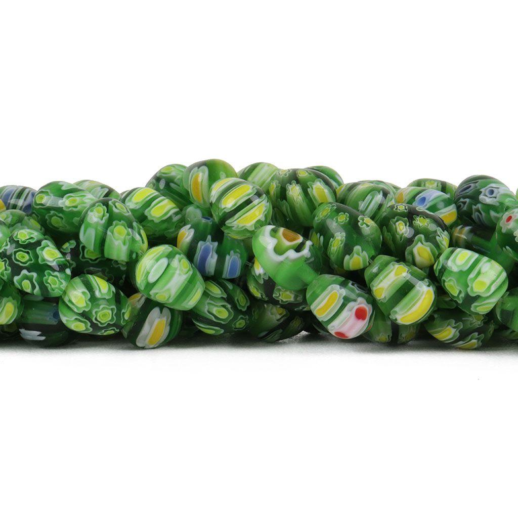 Murano Mil Flores Verde 10x8mm Gota - CV458  - ArtStones
