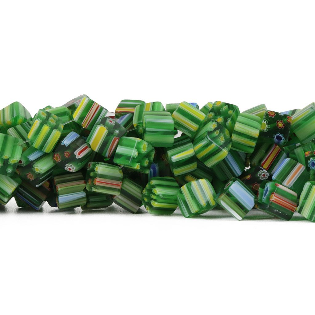 Murano Mil Flores Verde Florido 8mm Cubo - CV468  - ArtStones