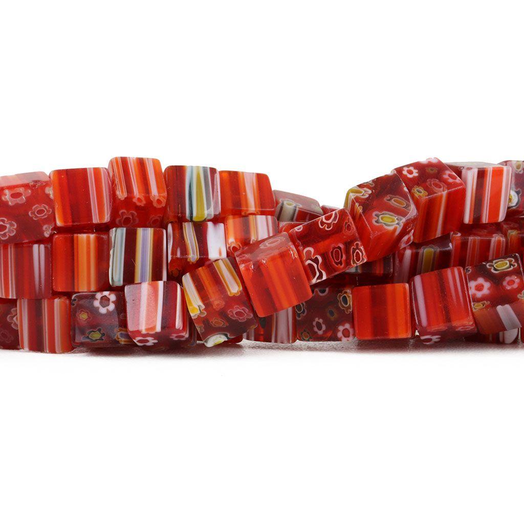 Murano Mil Flores Vermelho Cubo 8mm - CV461  - ArtStones