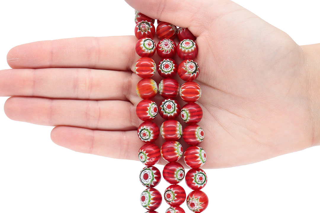 Murano Mil Flores Vermelho 12mm - CV569  - ArtStones