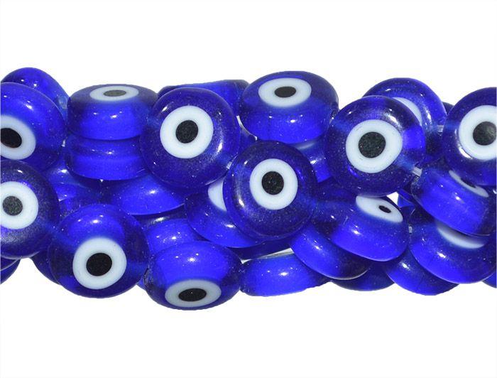 Murano Olho Grego Azul Moeda 6mm - FMU_359  - ArtStones