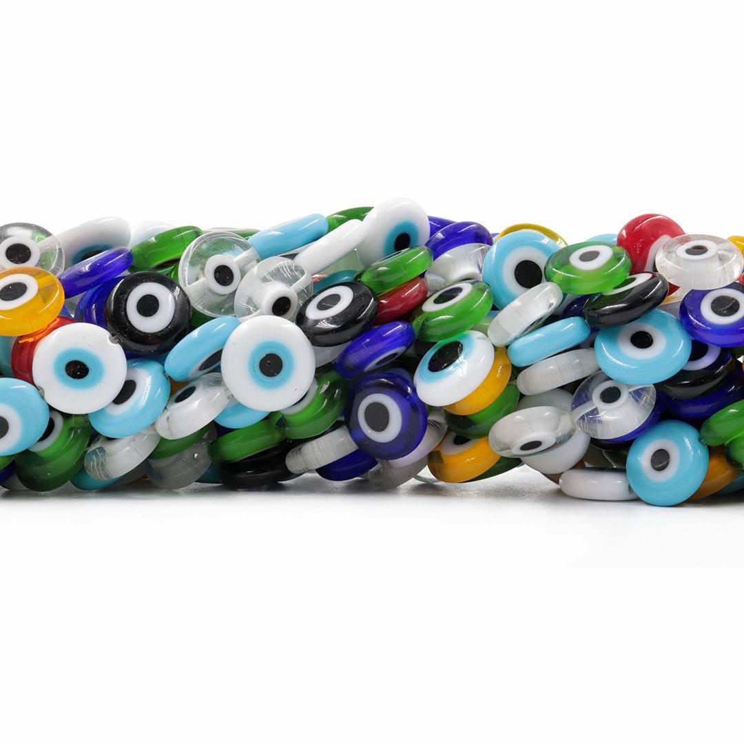 Murano Olho Grego Colorido Moeda 11/12mm - CV565  - ArtStones