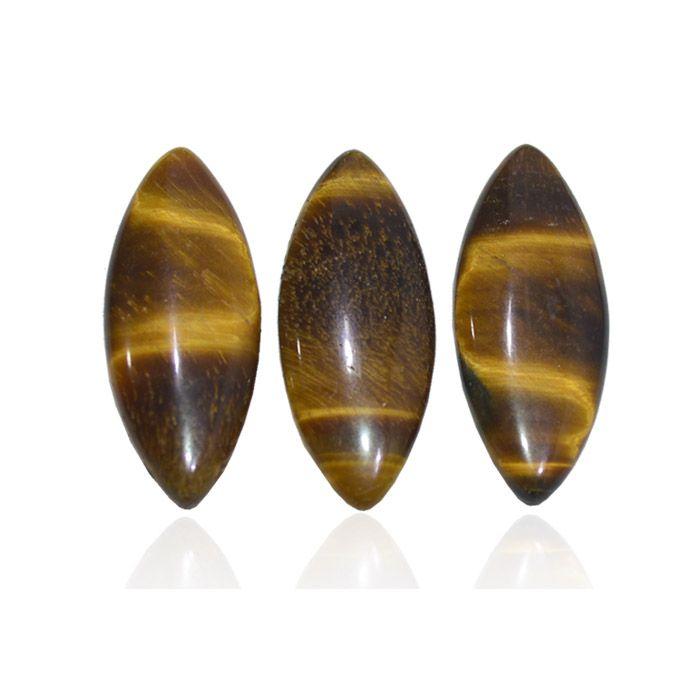 Navete de Olho de Tigre Natural 30x12mm - 02 peças - PA054  - ArtStones