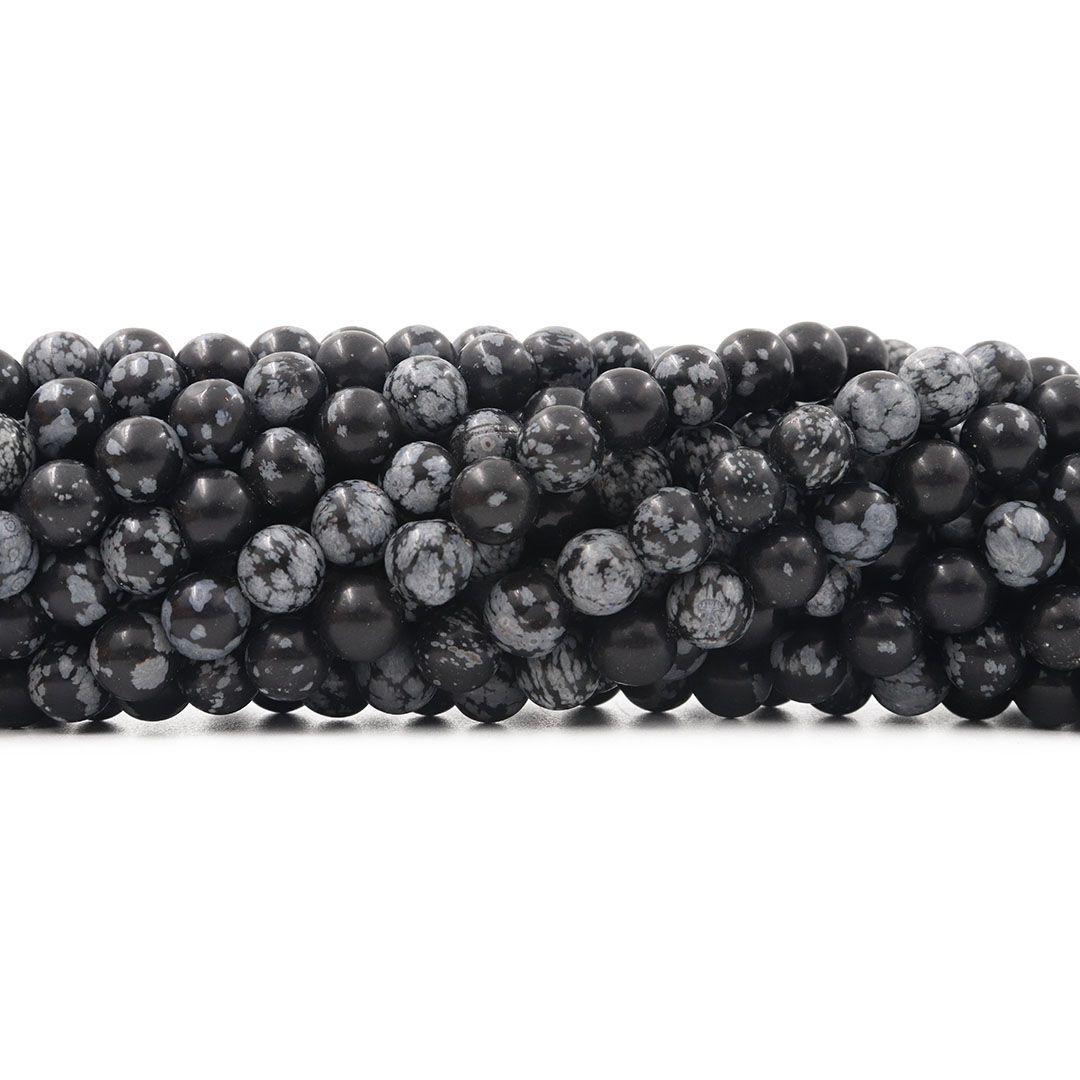 Obsidiana Floco de Neve Fio com Esferas de 8mm - F569  - ArtStones