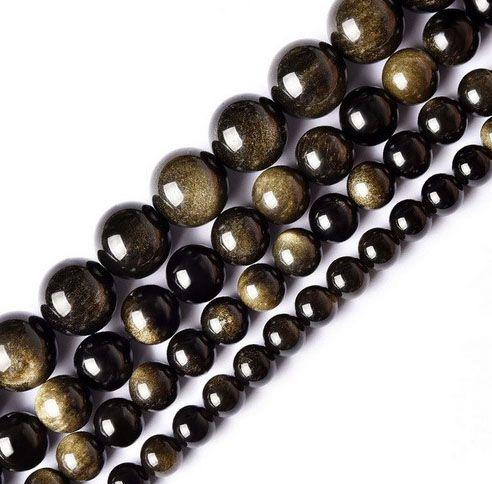 Obsidiana Gold Fio com Esferas de 6mm - F194  - ArtStones