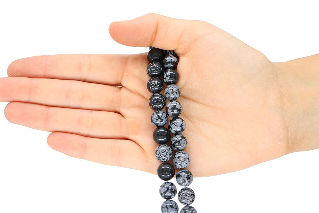Obsidiana Floco de Neve Fio com Esferas de 10mm - FESF_110/10  - ArtStones