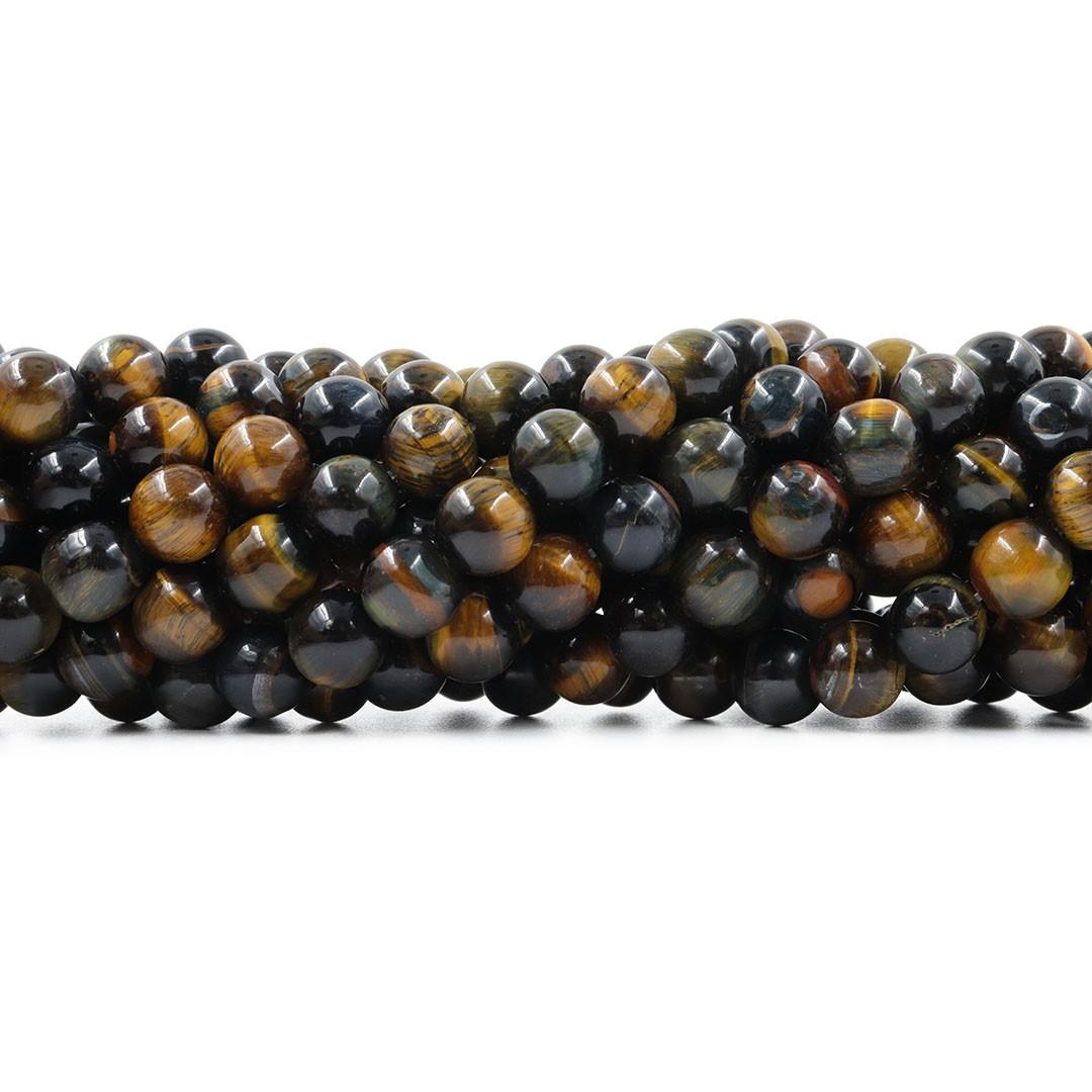 Olho de Falcão Fio com Esferas de 10mm - F661  - ArtStones