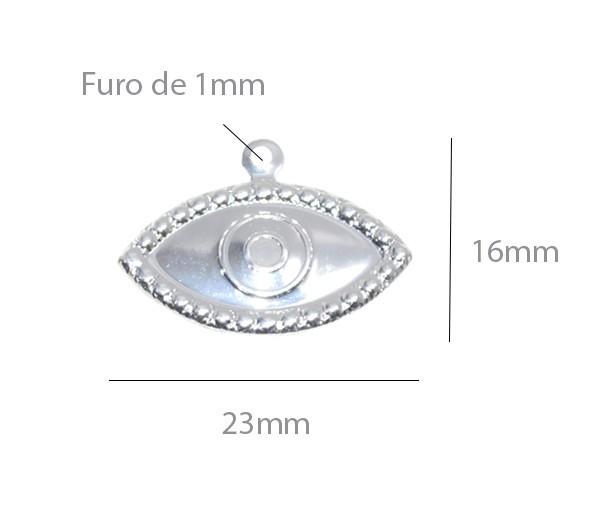 Penduricalho Olho de Hórus 23x16mm Folheado a Prata - 03 peças - PEFO_106  - ArtStones