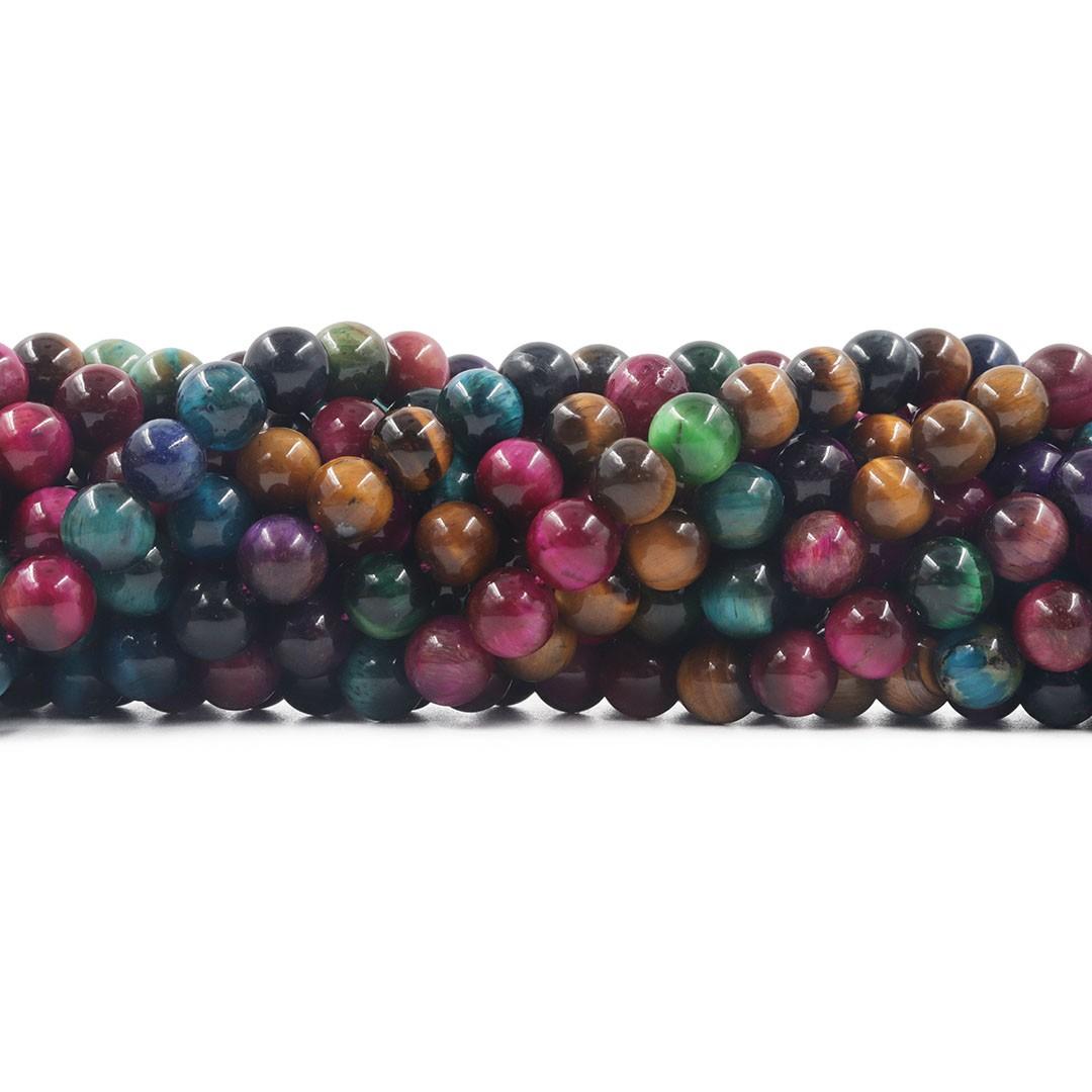 Olho de Tigre Mix Collors Fio com Esferas de 8mm - F550  - ArtStones