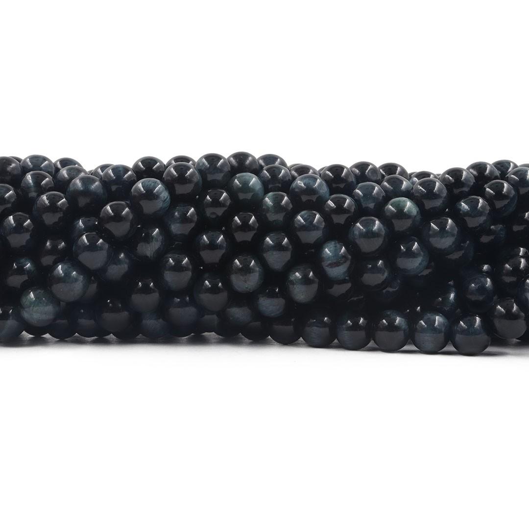 Olho de Tigre Dark Blue Fio com Esferas de 8mm - F559  - ArtStones