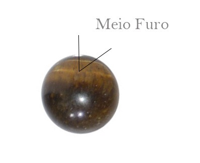 Esfera de Meio Furo 6mm Olho de Tigre -10  Peças - PA088  - ArtStones
