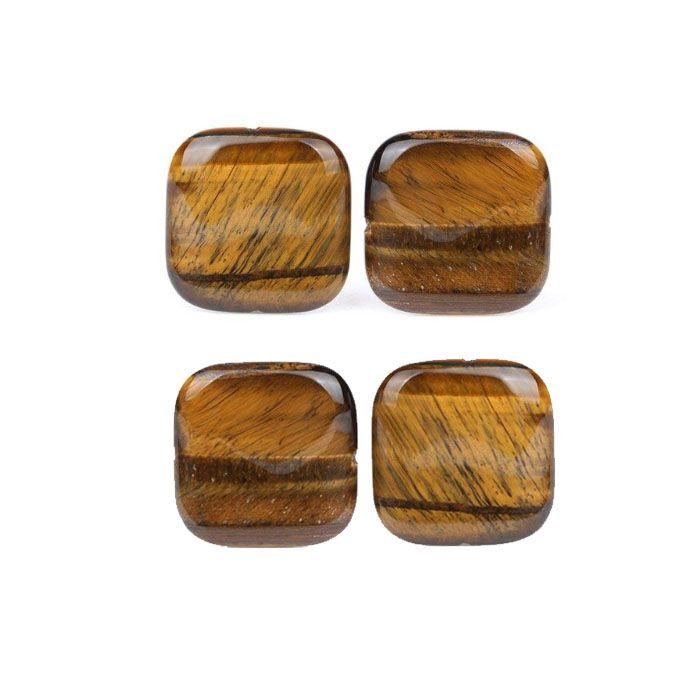 Olho de Tigre Natural Quadrado 12mm - 04 Peças - PMO_140  - ArtStones