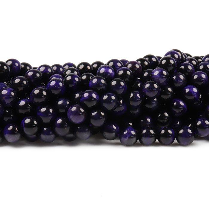 Olho de Tigre Purple Fio com Esferas de 8mm - F215  - ArtStones