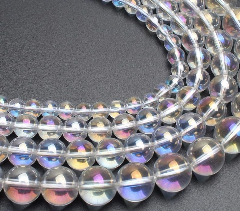 Opalina Arco-íris Fio com Esferas de 8mm - F186  - ArtStones