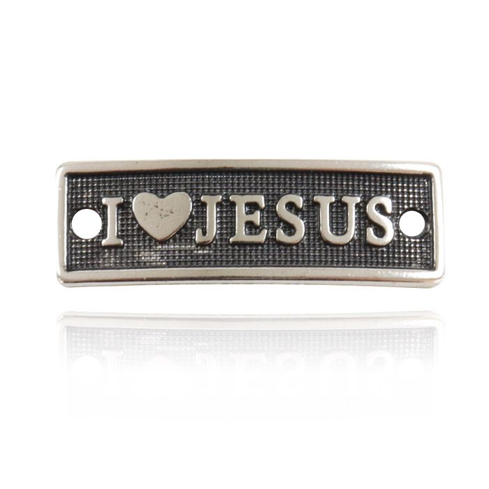 Passante de Metal I Love Jesus 34x11mm - 3 peças - ACM_376  - ArtStones