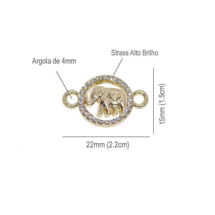 Entremeio Elefante 22x15mm com Strass Teen - 02 peças - ACM_320  - ArtStones