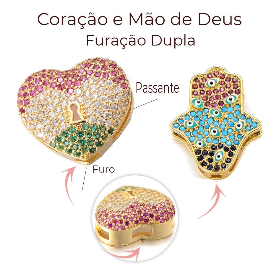 Passante para Pulseiras de Couro e Metal com Zirconias Coloridas - 01 Peça - AM001  - ArtStones