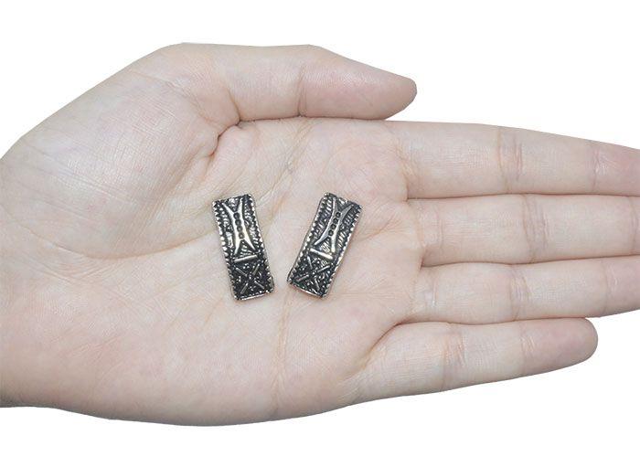 Passante Retangular de Metal Envelhecido 24x11mm - 3 Peças - ACM_209  - ArtStones