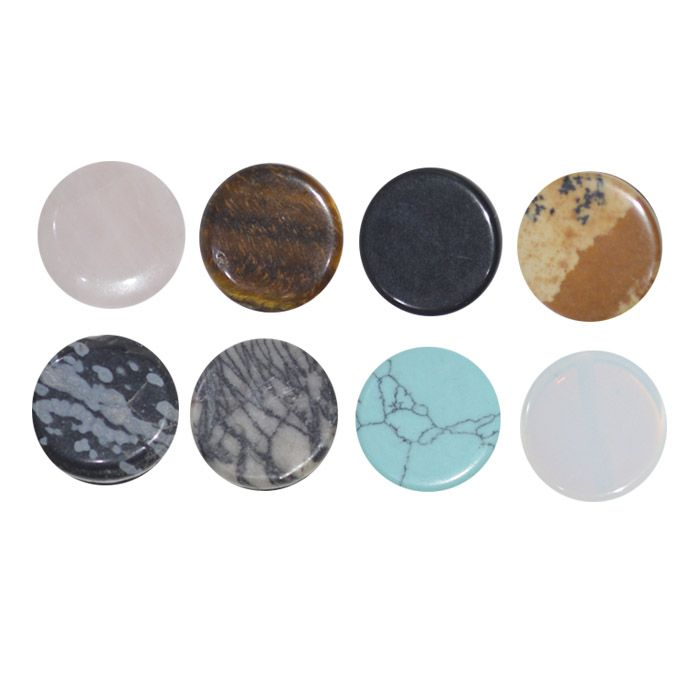 Pedra Natural Frisada Moeda de 16mm - 2 Peças - PA013  - ArtStones