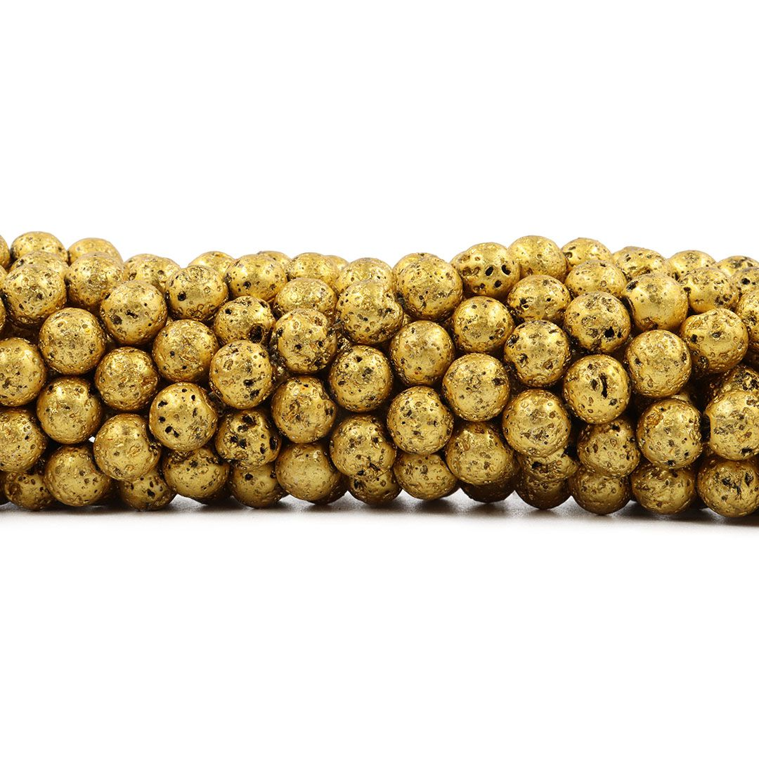 Pedra Vulcânica Dourada Esferas de 8/9mm - F536  - ArtStones