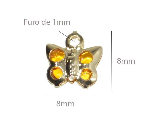 Penduricalho Borboleta 8mm Folheado - 4 Peças - FO214  - ArtStones